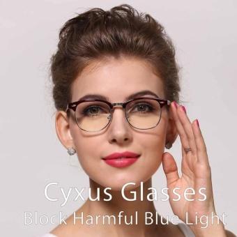 Cyxus Blue Light Filter Semi-Rimless Computer Glasses Anti Eyestrain UV Blocking Dark Brown Gaming Eyewear - intl - 3