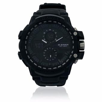 D-ZINER DZ-8025 Black Resin Dual Time Men's Sports Analog DigitalWatch WR10BAR (Black) Price Philippines