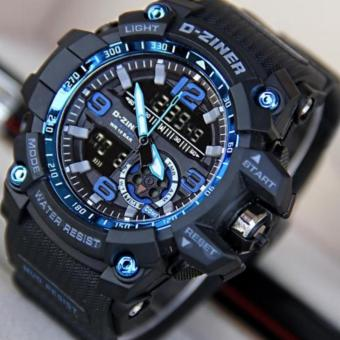D-ZINER DZ-8143 Dual Time Men's Sports Analog Digital Watch (BLUE/BLACK) Price Philippines
