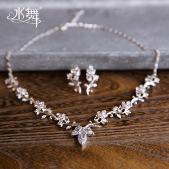 D0543 Korean style bridal crystal CROWN wedding necklace