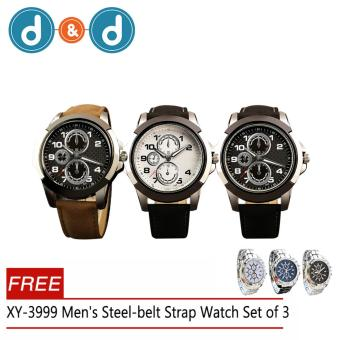 D&D C-XY-3999 Men's Leather Strap Military Quartz Watch Set3With Free XY-3999 Men's Steel-belt Strap Watch Set3