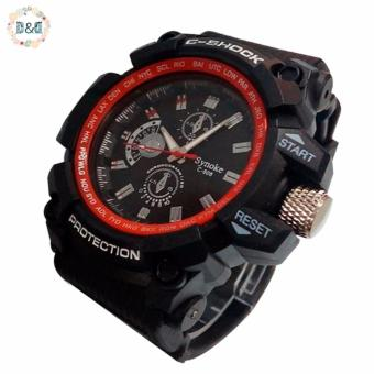 D&D C808 Fashion Men Black Silicone Strap Sport Quartz Wrist Watch