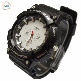 D&D C810 Fashion Men Black Silicone Strap Sport Quartz Wrist Watch