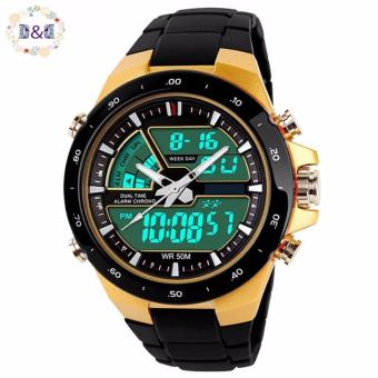 D&D Casual Men Digital Quartz Sports Watch (Gold)
