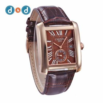 D&D CHENXI 063A square Men Leather Strap Quartz Watch(Brown)