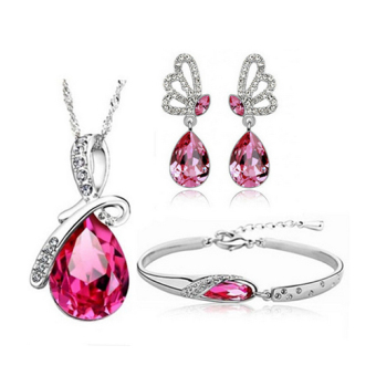 D&D HHZF-T38-3 Tears of the Angel Austrian Crystal Accessories Necklace+ Bracelet +1 Pair Earrings Jewellery Sets (Pink)