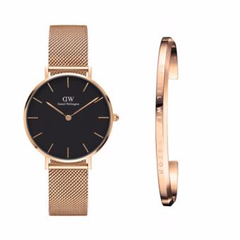 Daniel Wellington Classic Petite Melrose 32mm Rosegold Black Face Watch and DW Cuff Rosegold Small Set Price Philippines