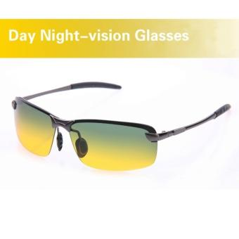 Day & Night View Vision Glasses Anti-glare Driving Polarized Sunglasses(Black Frame) - intl