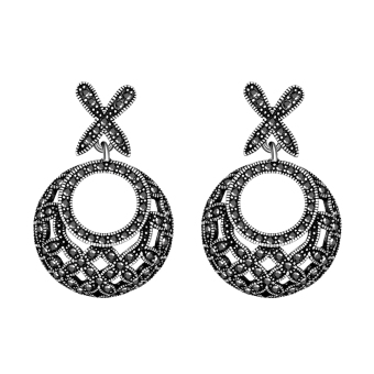 Delicate Circular Antique Silver Crystal Circle Earring Fashion Accessories