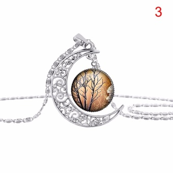 Delicate Hollow Carving Life Tree Moon Pattern Time Jewelry PendantNecklace Jewelry Silver Type3 - intl Price Philippines
