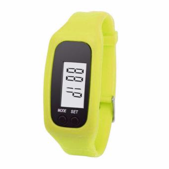 Digital LCD Pedometer Run Walking Distance Watchband Bracelet Fitness Tracker (Yellow)