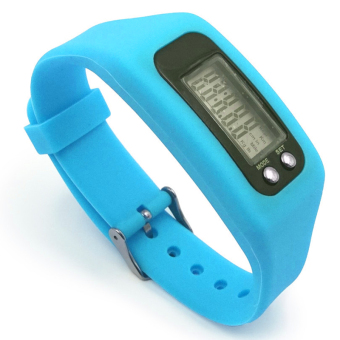 Digital LCD Pedometer Run Walking Distance Watchband BraceletFitness Tracker (Blue)