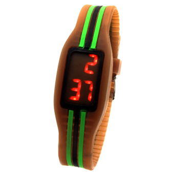 Digital LED Stripe Unisex Brown Silicone Strap Watch
