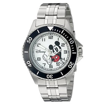 Disney Mickey Mouse Men's W002394 Mickey Mouse Silver-Tone Watch -intl
