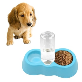 Dog Cat Food Dish + Drinking Water Double Bowls With Automatic Water Dispenser(Blue) - intl