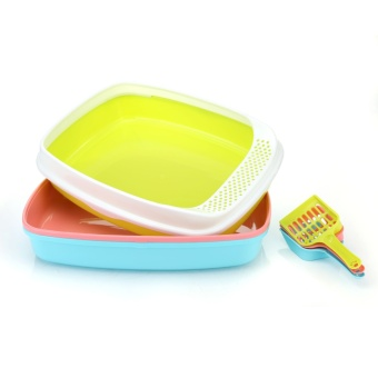 dog cat toilet Small dogs pet cleaning supplies with cat sandshovel The cat sand basin Random Color - intl