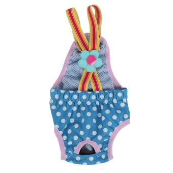 Dog Diaper Suspender Underwear Reusable Washable Pants Blue M - intl