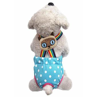 Dog Suspender Trousers, Female Dog Reusable Washable Diapers, Colourful Comfortable Cotton Pet Physiological Pants Sanitary Pants Underwear Diapers with Free Brooch for Small Dogs Puppies Blue XS - intl