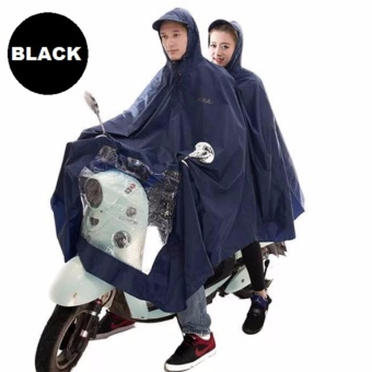 Double 2-Person Waterproof Motor Raincoat (Black) Price Philippines