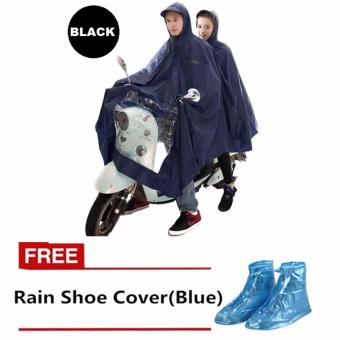 Double 2-Person Waterproof Motor Raincoat (Black) with FREE RainShoe Cover (Blue)