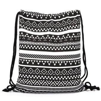 Drawstring Backpack Rucksack School Sport Shop Vintage Canvas Cinch Travel Bag