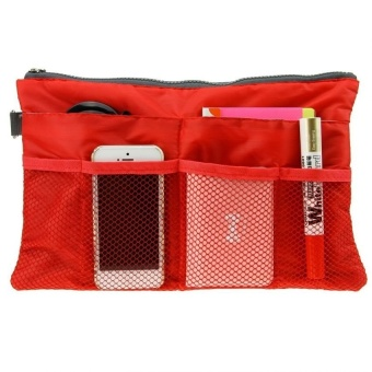 Dual Bag Organizer (Red) with Free Digital Gadget Devices CablePouch (Color may vary)