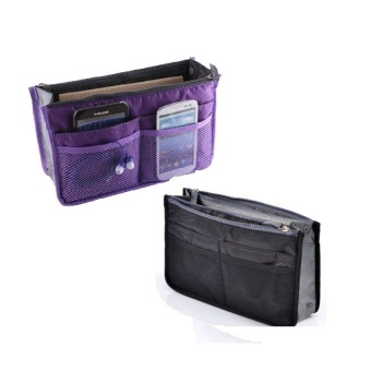 Dual Bag Organizer Set of 2 (Black/Violet) with Free Travel MateToiletry Kit Organizer (COLOR MAY VARY)