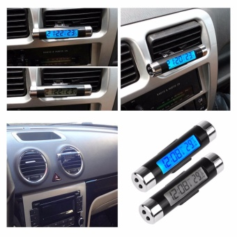 Dual Purpose Car Air Vent Clip-on LCD Blue Backlight Thermometer Clock For Honda - intl
