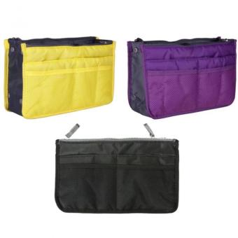Dual Zipper Bag in Bag Organizer Set of 3 (Yellow/Violet/Black)