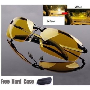 DualX Night Vision Driving Glasses Sunglasses Polarized Sunglasseswith Case Free (Yellow Lens+Black Frame) - intl