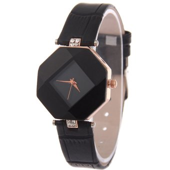 E&E Diamond Fashion Women Black Leather Strap Watch SY-24