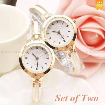 E&E Geneva Fashion Ladies Casual Bracelet Quartz Wrist Watch SY-7 (Golden) (Set of two)