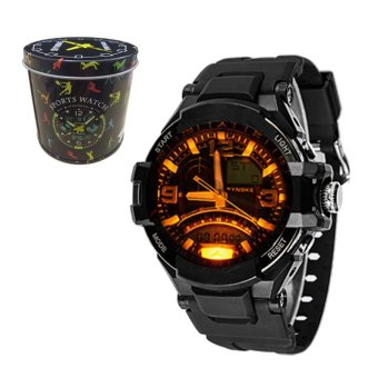 E&E SNK-67876 Men's Multifunctional Diving Waterproof 50M Digital LED Outdoor Sports Rubber Strap Watch Gift Set (Black)