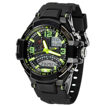 E&E SNK-67876 Men's Multifunctional Diving Waterproof 50MDigital LED Outdoor Sports Rubber Strap Watch Gift Set (Green) - 2