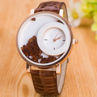 E&E Stylish Fashion Women Brown Leather Strap Watch SY-18