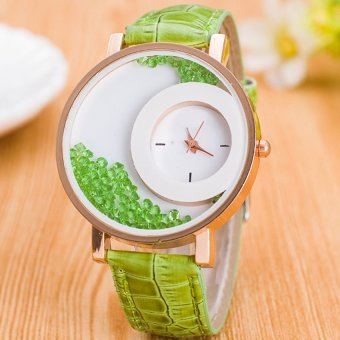 E&E Stylish Fashion Women Green Leather Strap Watch SY-18