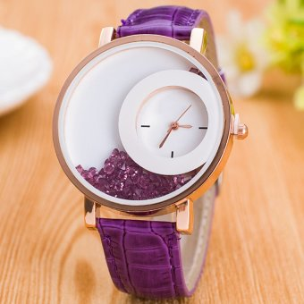 E&E Stylish Fashion Women Purple Leather Strap Watch SY-18
