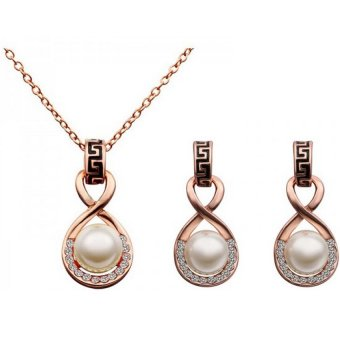 E&E European and American Women's Pearl Jewelry Set (Rose Gold)