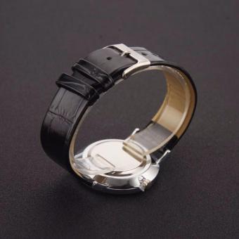 EK25 Couple's Black Leather Strap Wristwatch With Arabic Numerals - 3
