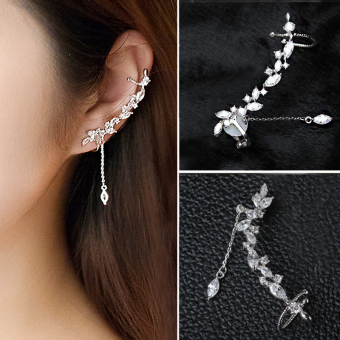 Elegant female fake sterling silver earrings stud