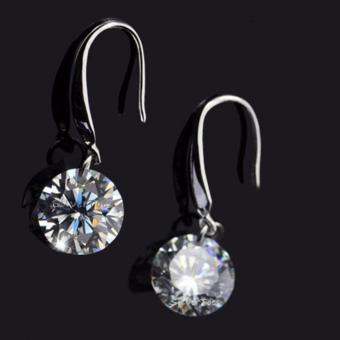 Elegant Ladies Silver Plated CZ Drop Earrings Cubic Zirconia 8mm - 5