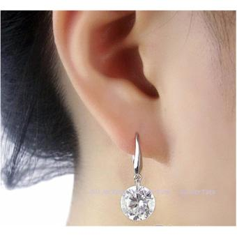Elegant Ladies Silver Plated CZ Drop Earrings Cubic Zirconia 8mm - 4