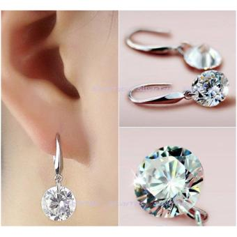 Elegant Ladies Silver Plated CZ Drop Earrings Cubic Zirconia 8mm - 3