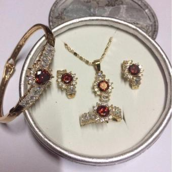 ELEGANT RED STONE JEWELRY SET (NECKLACE, EARRINGS, RING(size7) and BANGLE) Price Philippines
