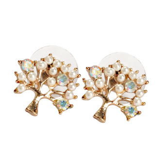 Elegant Women Rhinestone Pearl Pierced Christmas Tree Earrings Ear Stud