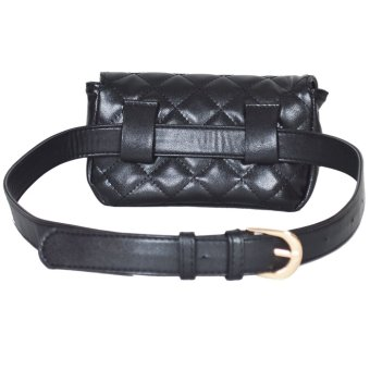 EOZY Chic Women Lady Girl's Classic Waist Bags Korean Style Stylish Female PU Leather Outdoor Street Key Money Cellphone Pouch Waist Pack (Black) - 3