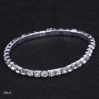 EOZY Fashion Women Ladies 1 Layer Rhinestone Crystal Bracelet Elastic Stretch Silver Plated Bangles (Silver) - intl Price Philippines