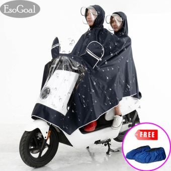 EsoGoal Rain Poncho,Two Person Lengthen Reflective Raincoat Waterproof Motorcycle Scooter Rain Hoodie Coat With Mirror Slot (Black) - intl