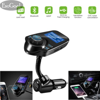 EsoGoal Wireless In-Car Bluetooth FM Transmitter Radio Adapter Car Kit with 1.44 Inch Display and USB Car Charger - intl