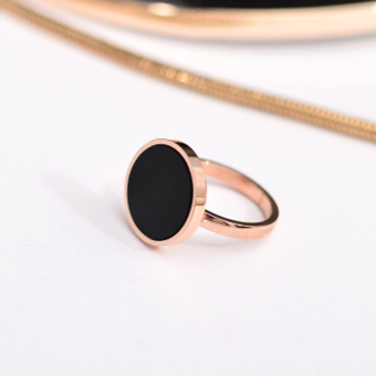 European and American Black Rose Gold round ring (Rose Gold black 7 NO.)